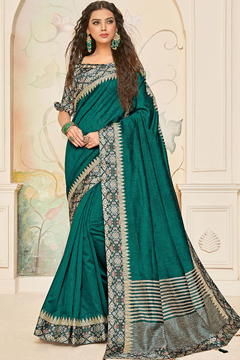 Teal Color Party Wear Border Work Saree In Art Silk Fabric With Designer Blouse