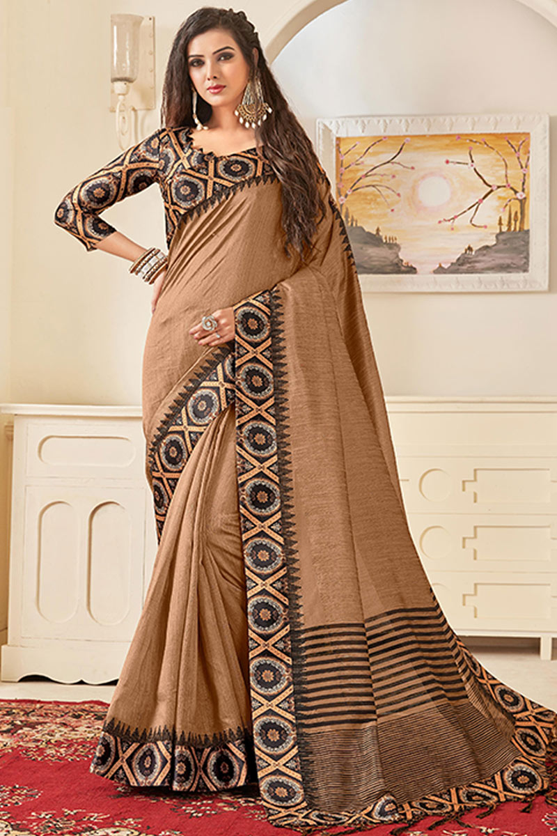 Art Silk Fabric Coffee Color Occasion Wear Saree With Border Work And Elegant Blouse