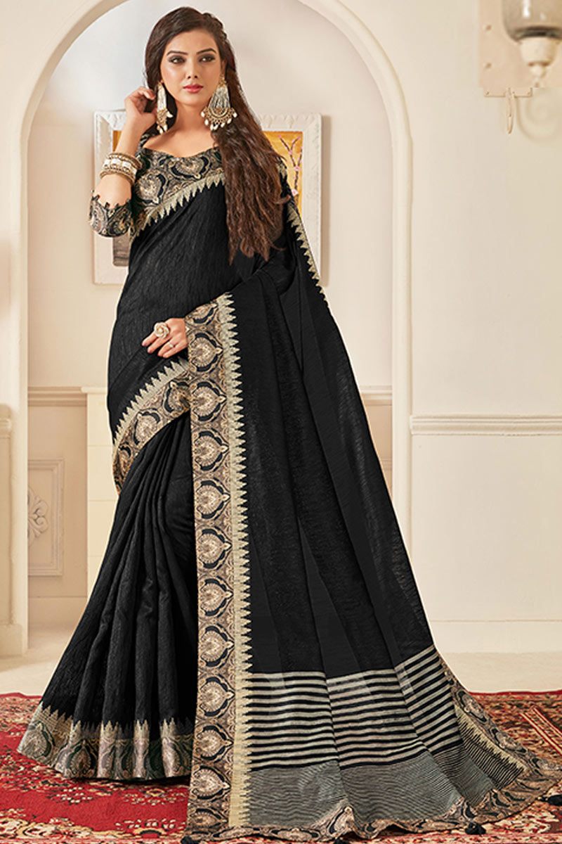 Function Wear Art Silk Fabric Border Work Saree In Black Color With Party Wear Blouse