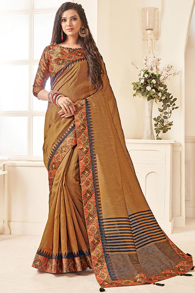 Border Work Art Silk Fabric Brown Color Designer Saree With Mesmerizing Blouse