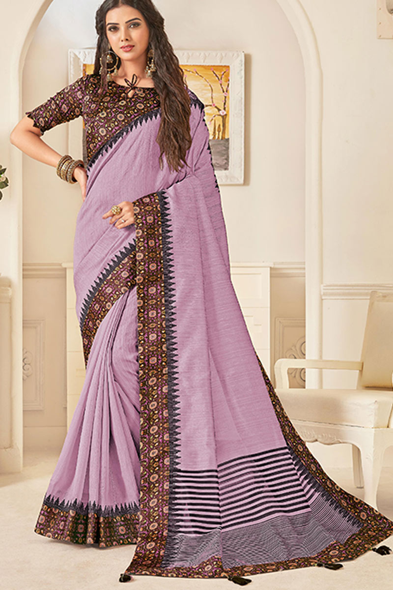 Violet Color Art Silk Fabric Party Wear Saree With Border Work And Beautiful Blouse