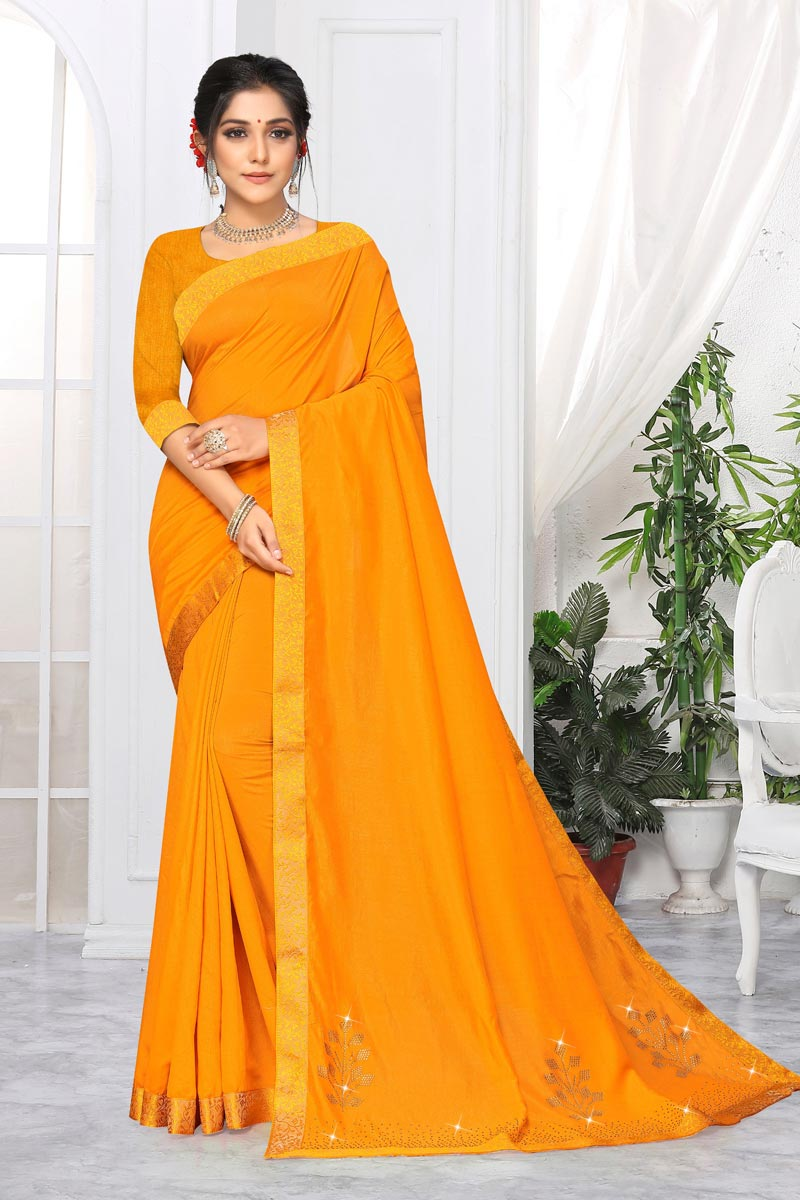 Yellow Color Daily Wear Art Silk Alluring Plain Saree With Lace Work