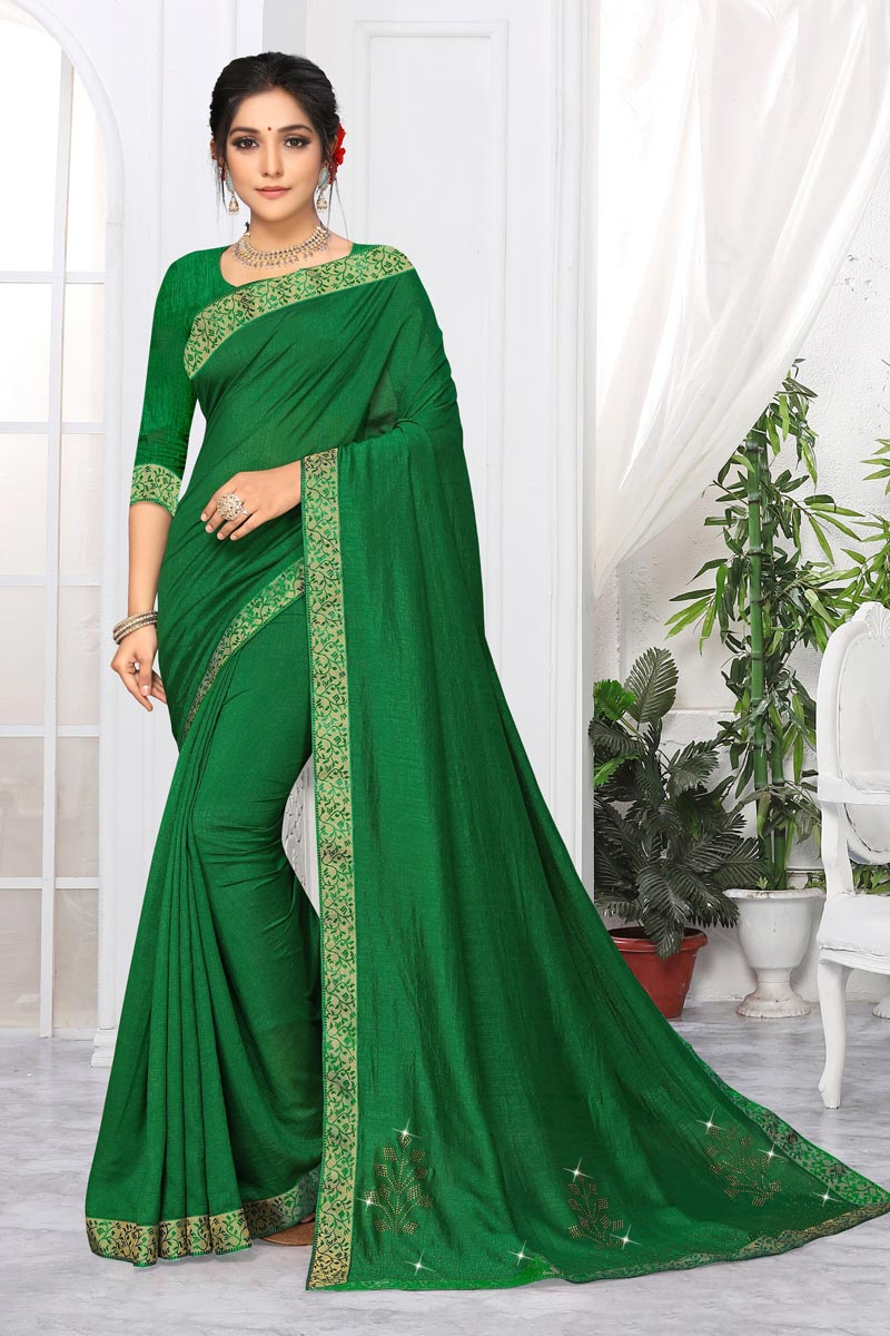 Daily Wear Alluring Art Silk Plain Saree With Lace Work In Green Color