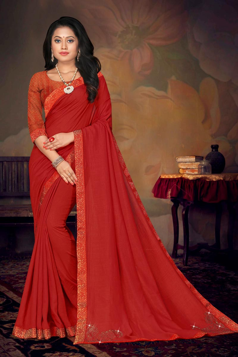 Art Silk Fabric Chic Daily Wear Red Color Lace Work Saree