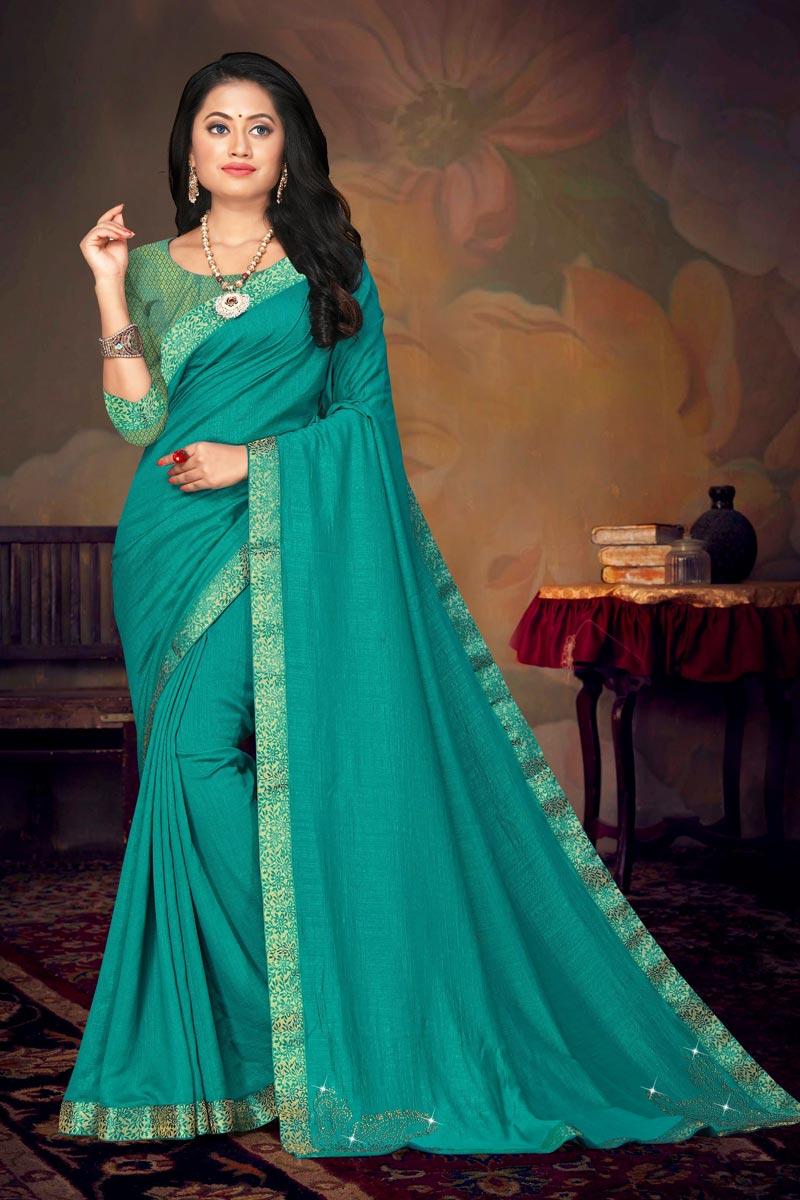 Cyan Color Daily Wear Art Silk Fabric Chic Lace Work Saree