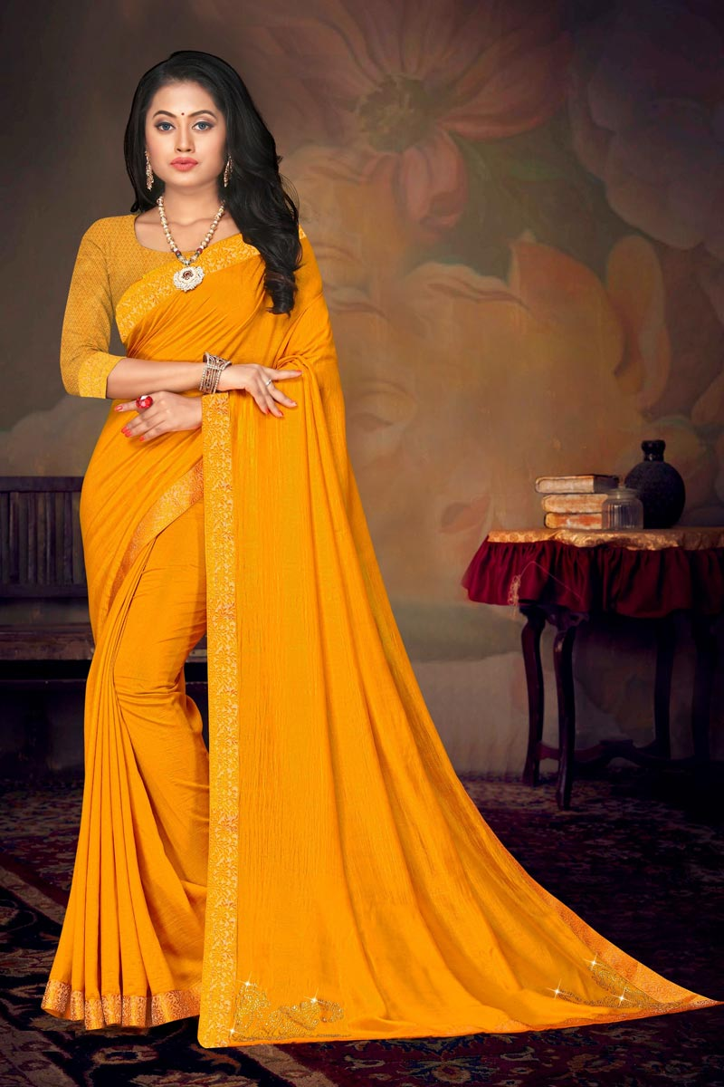 Art Silk Fabric Daily Wear Chic Yellow Color Lace Work Saree