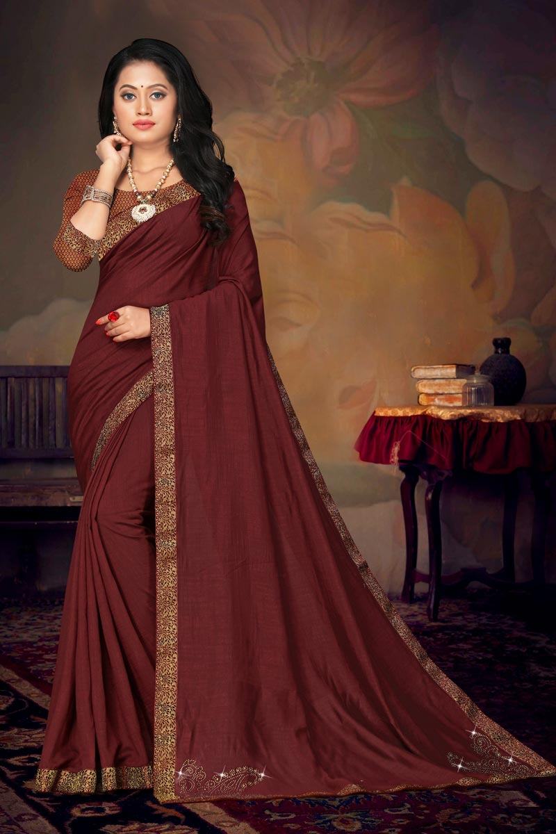 Daily Wear Maroon Color Chic Art Silk Fabric Lace Work Saree