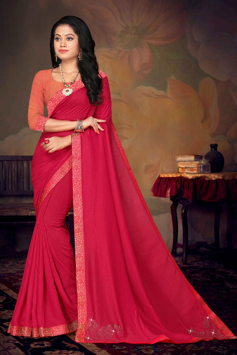 Daily Wear Art Silk Fabric Chic Lace Work Saree In Pink Color