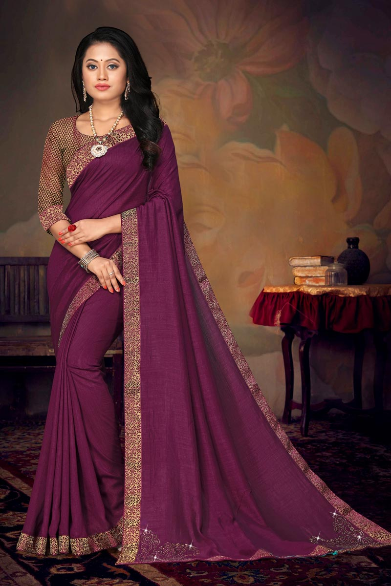 Purple Color Daily Wear Chic Art Silk Fabric Lace Work Saree