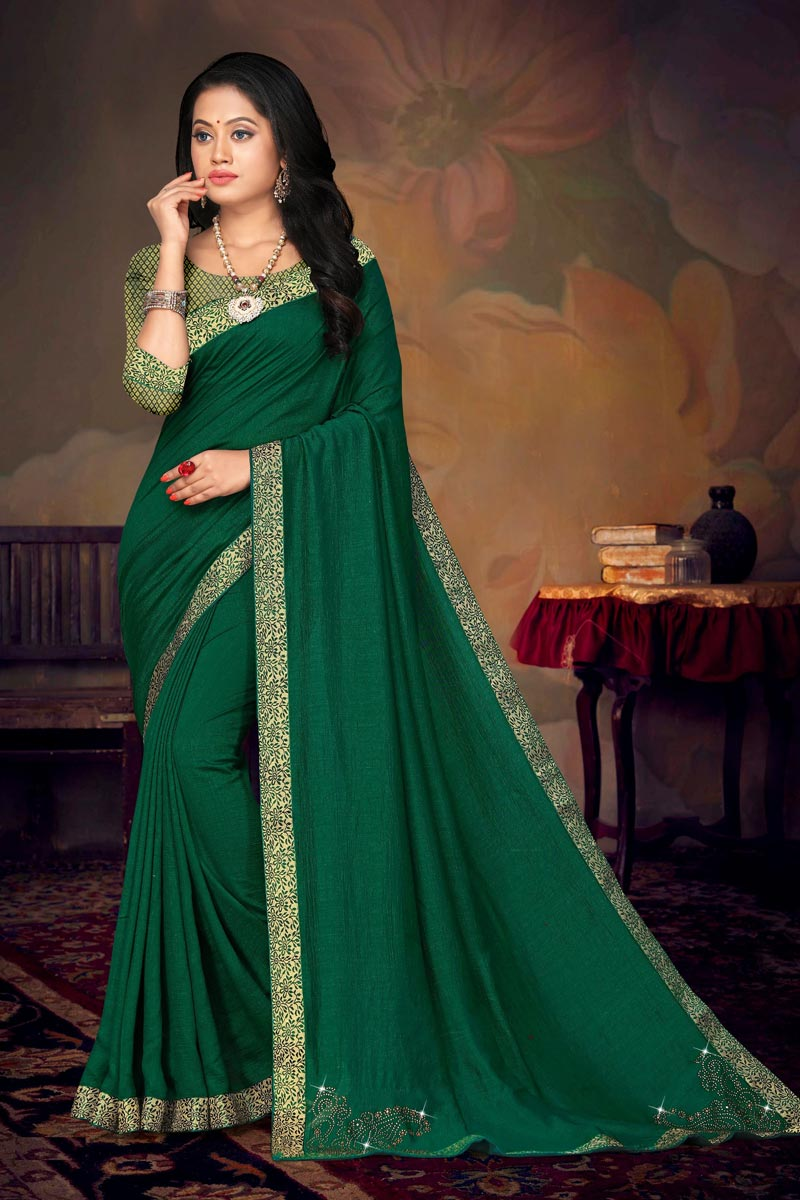 Green Color Chic Daily Wear Art Silk Fabric Lace Work Saree