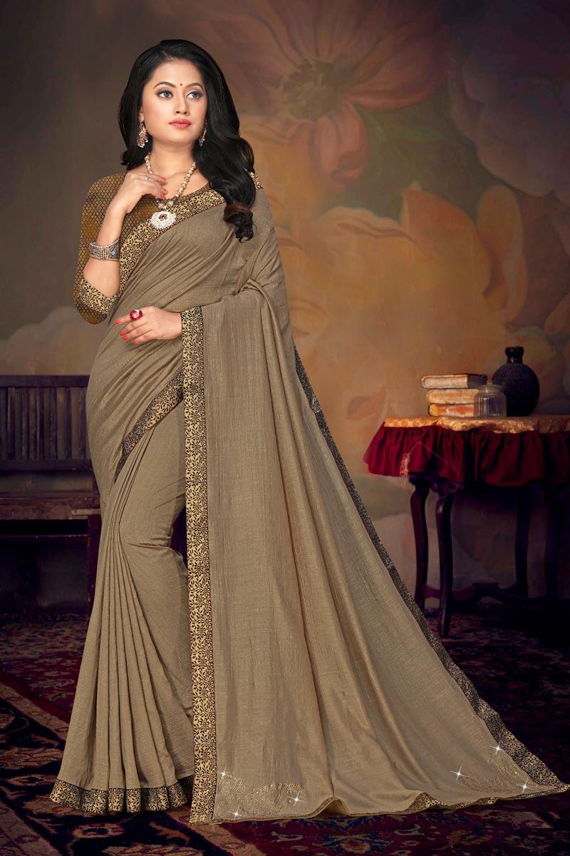 Art Silk Fabric Daily Wear Dark Beige Color Chic Lace Work Saree