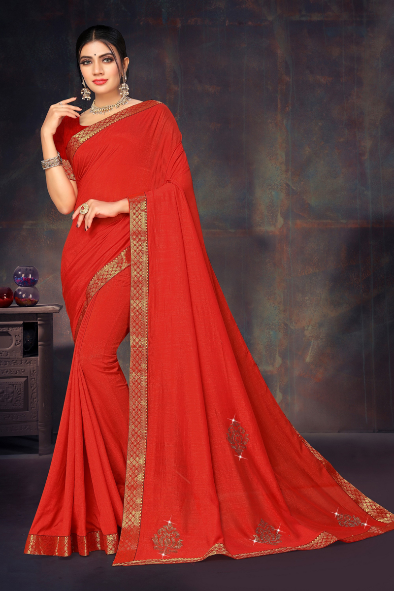 Red Color Art Silk Fabric Function Wear Lace Border Work Saree