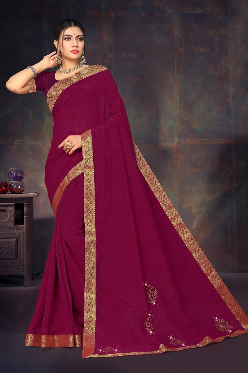 Art Silk Fabric Designer Lace Border Work Saree In Purple Color