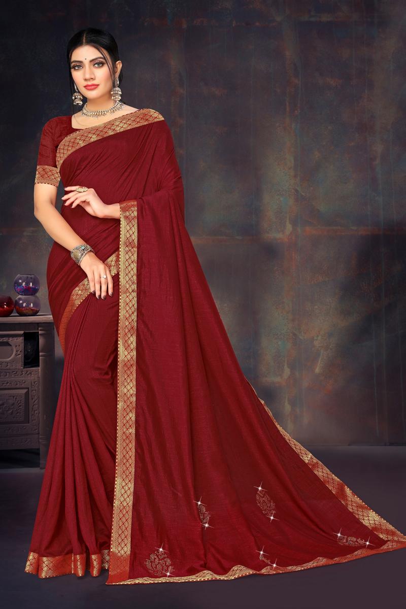 Maroon Color Art Silk Fabric Occasion Wear Lace Border Work Saree