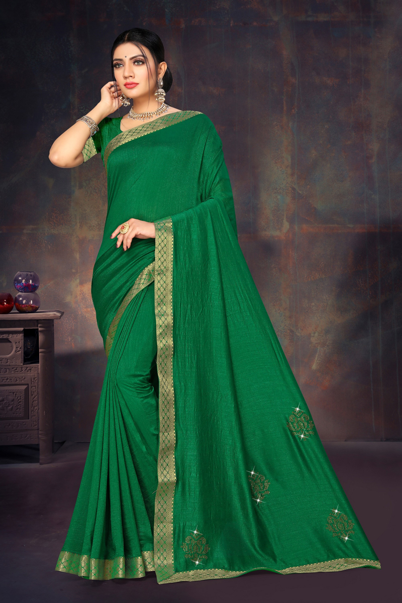 Function Wear Dark Green Color Lace Border Work Saree In Art Silk Fabric