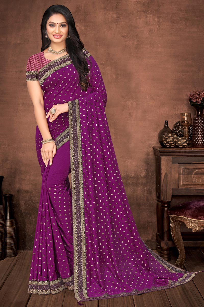 Puja Wear Elegant Purple Color Plain Saree With Lace Work In Art Silk