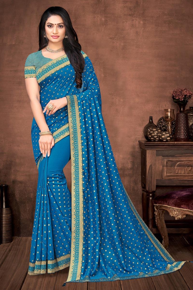 Sky Blue Color Elegant Puja Wear Art Silk Plain Saree With Lace Work