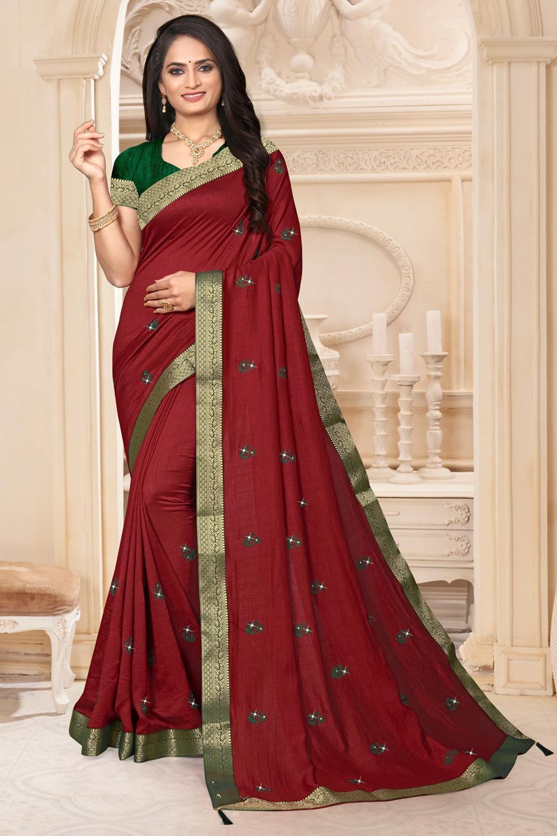 Maroon Color Sangeet Wear Art Silk Fabric Fancy Lace Work Saree