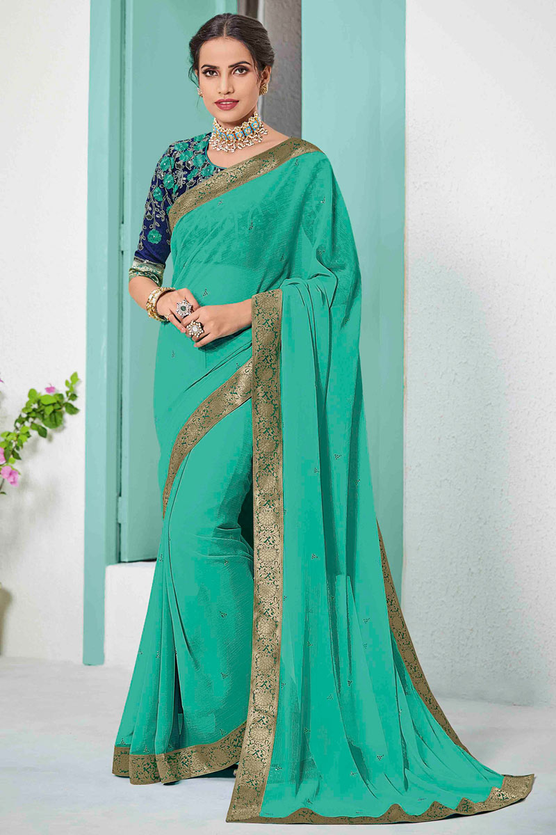 Chiffon Fabric Cyan Occasion Wear Saree With Border Work