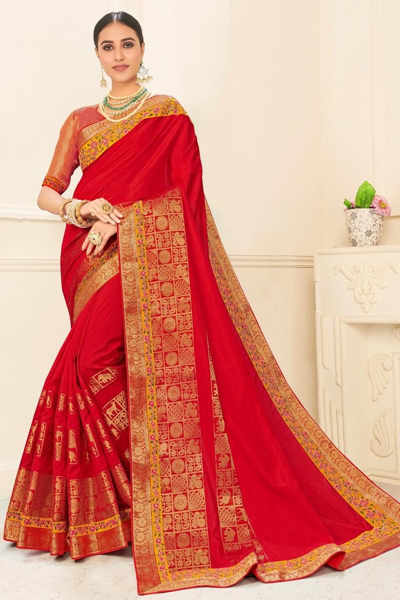 Red Color Sangeet Wear Art Silk Chic Embroidered Border Work Saree