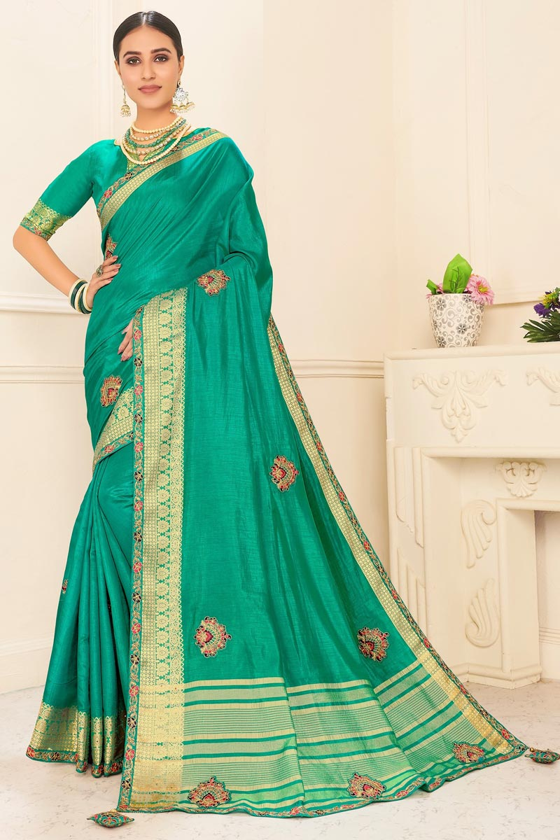 Art Silk Sangeet Wear Chic Embroidered Border Work Saree In Sea Green Color