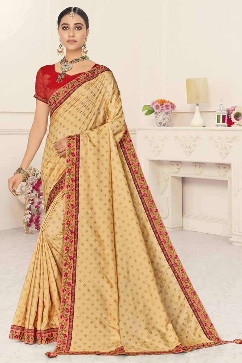 Sangeet Wear Beige Color Chic Art Silk Embroidered Border Work Saree