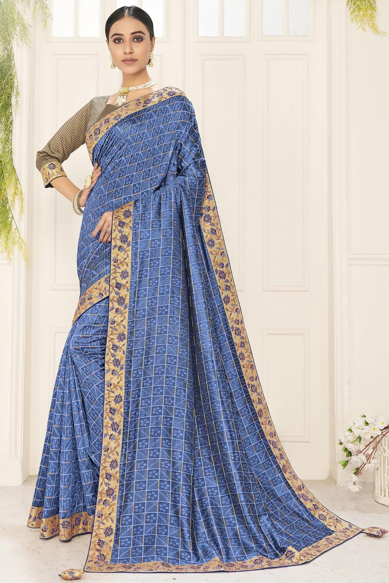 Sangeet Wear Art Silk Chic Embroidered Border Work Saree In Blue Color