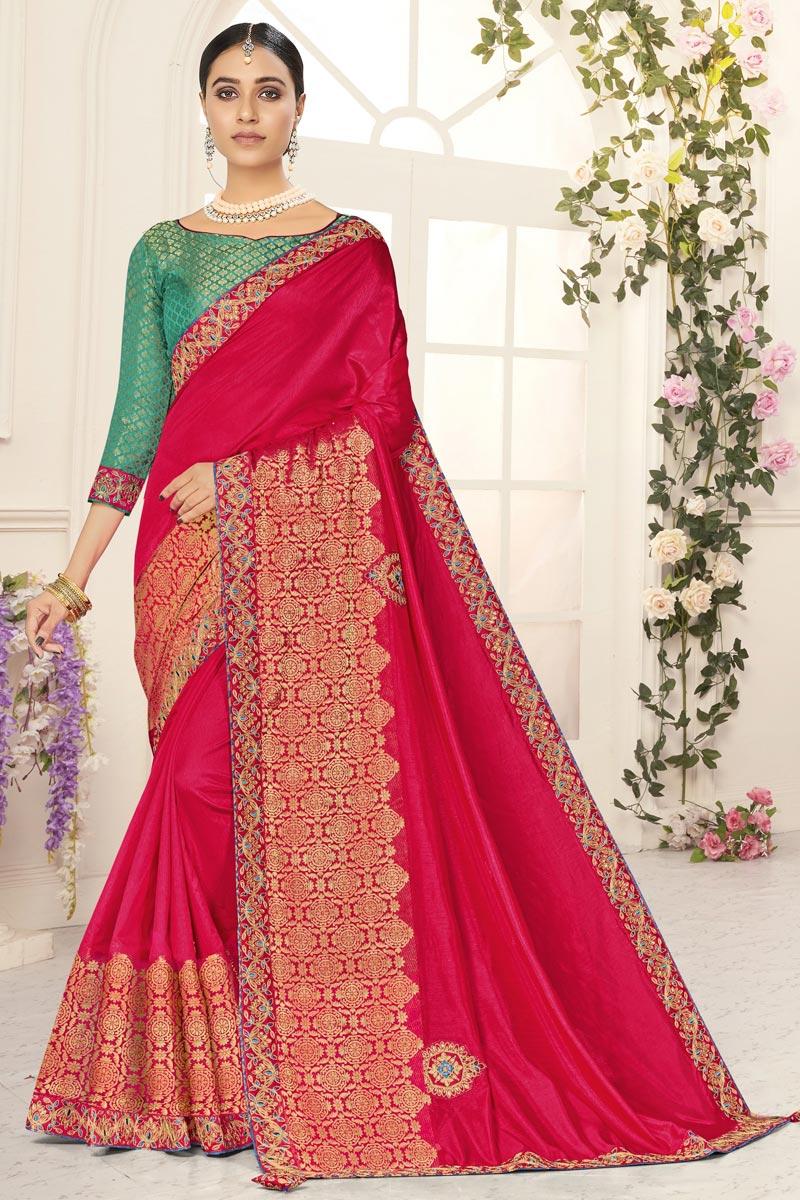 Rani Color Sangeet Wear Chic Art Silk Embroidered Border Work Saree