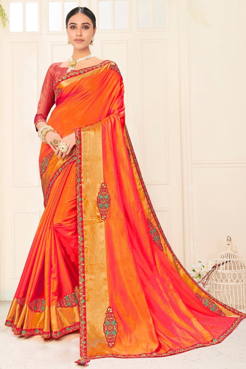 Orange Color Chic Sangeet Wear Art Silk Embroidered Border Work Saree