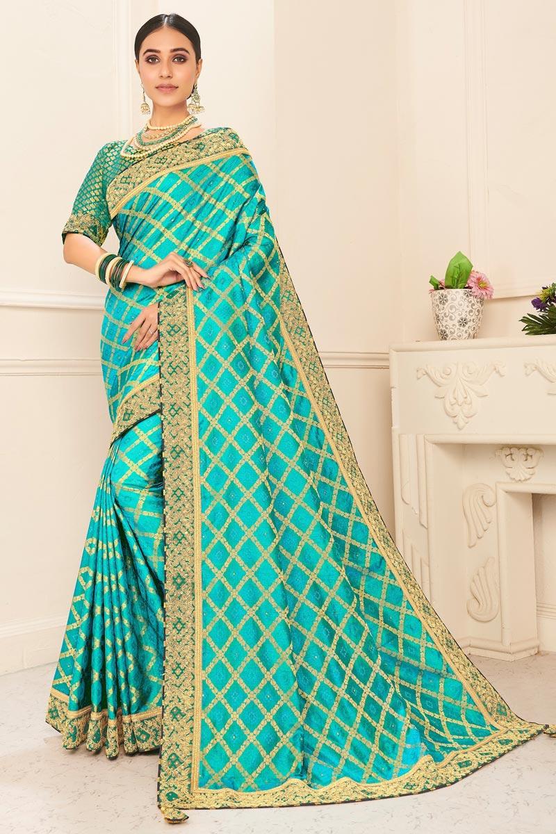 Art Silk Sangeet Wear Cyan Color Chic Embroidered Border Work Saree
