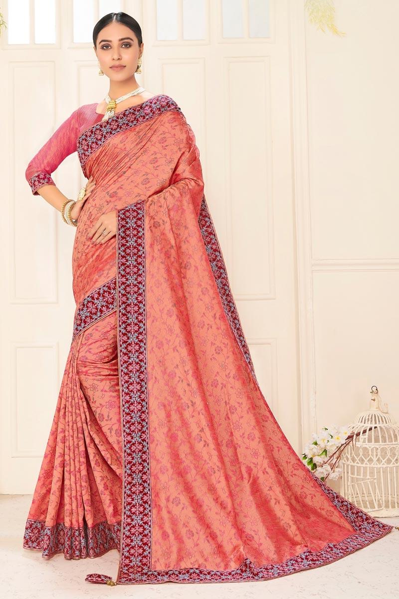 Sangeet Wear Chic Art Silk Embroidered Border Work Saree In Peach Color