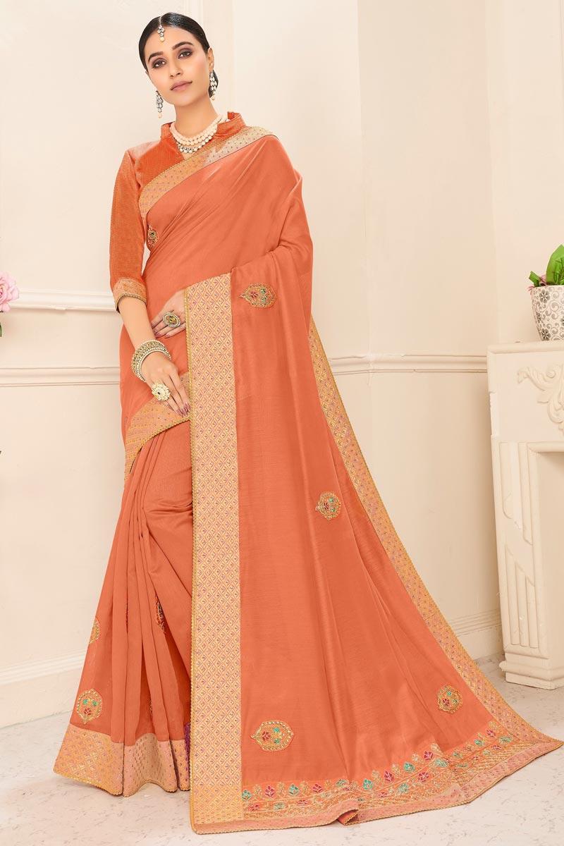 Sangeet Wear Orange Color Chic Embroidered Border Work Saree In Art Silk