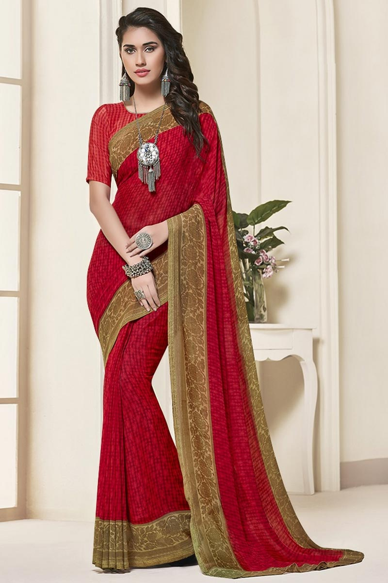 Daily Wear Georgette Fabric Beautiful Red Color Printed Saree