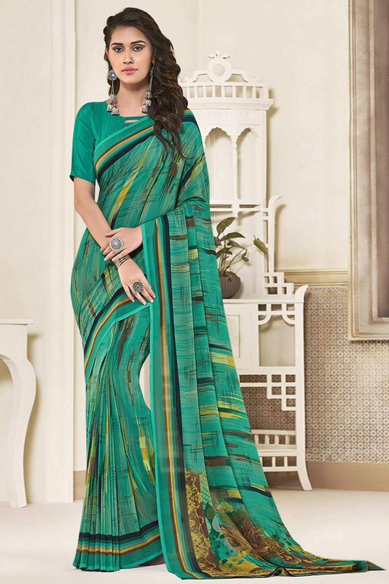 Daily Wear Cyan Color Beautiful Georgette Fabric Printed Saree
