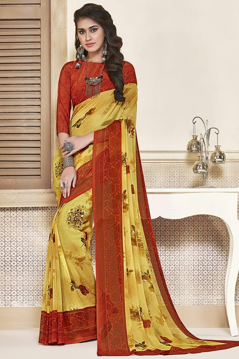 Yellow Color Daily Wear Beautiful Printed Georgette Fabric Saree