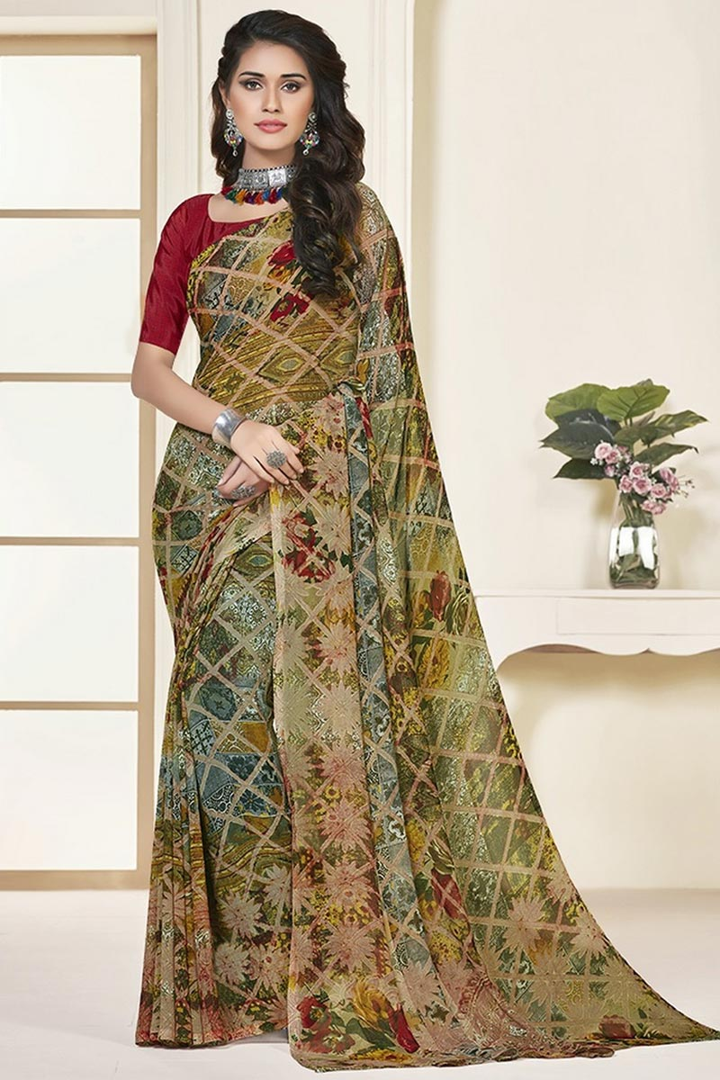Daily Wear Multi Color Georgette Fabric Beautiful Printed Saree