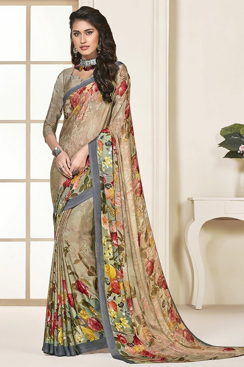 Beige Color Daily Wear Beautiful Printed Georgette Fabric Saree