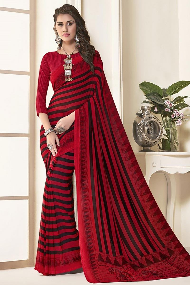 Daily Wear Red Color Georgette Fabric Beautiful Printed Saree