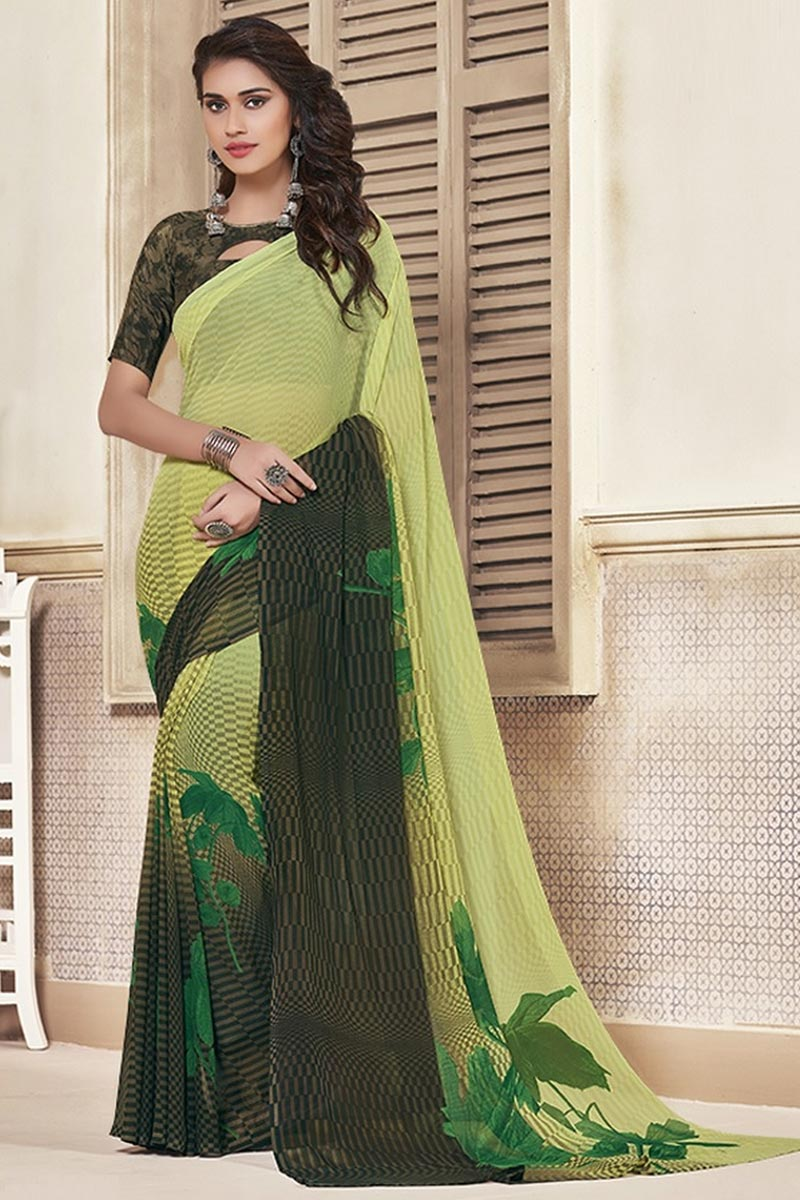 Sea Green Color Daily Wear Georgette Fabric Beautiful Printed Saree