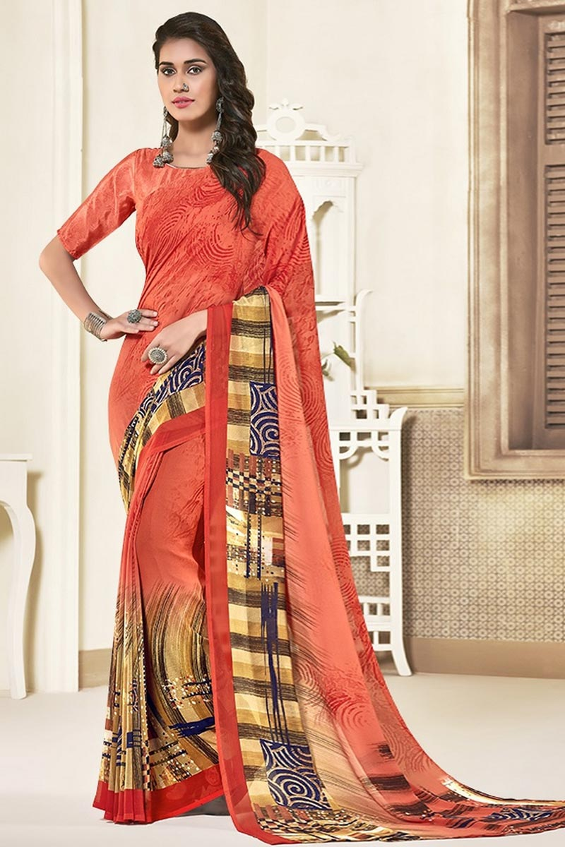 Georgette Fabric Daily Wear Peach Color Beautiful Printed Saree