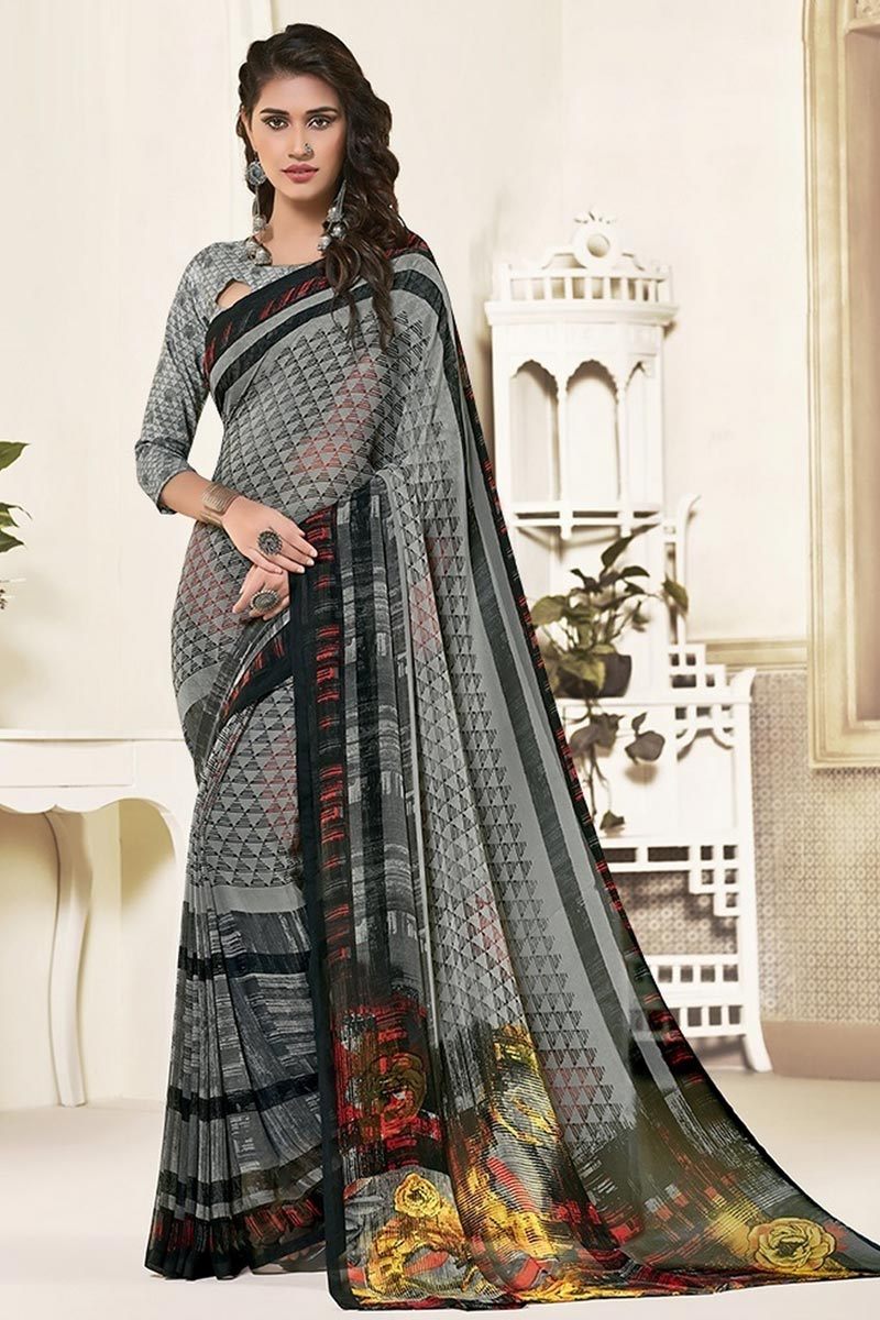 Daily Wear Georgette Fabric Grey Color Beautiful Printed Saree