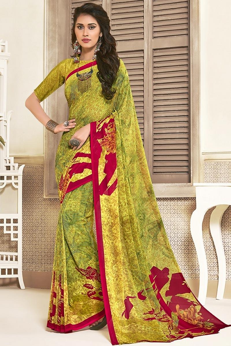 Regular Wear Yellow Color Beautiful Printed Saree In Georgette Fabric