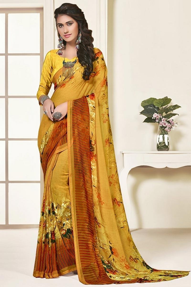 Regular Wear Georgette Fabric Beautiful Mustard Color Printed Saree