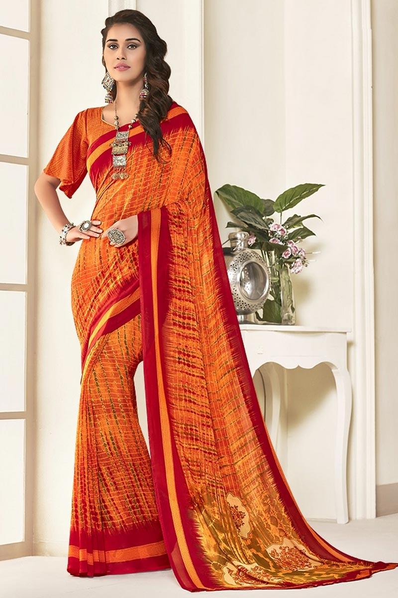 Orange Color Regular Wear Beautiful Printed Georgette Fabric Saree