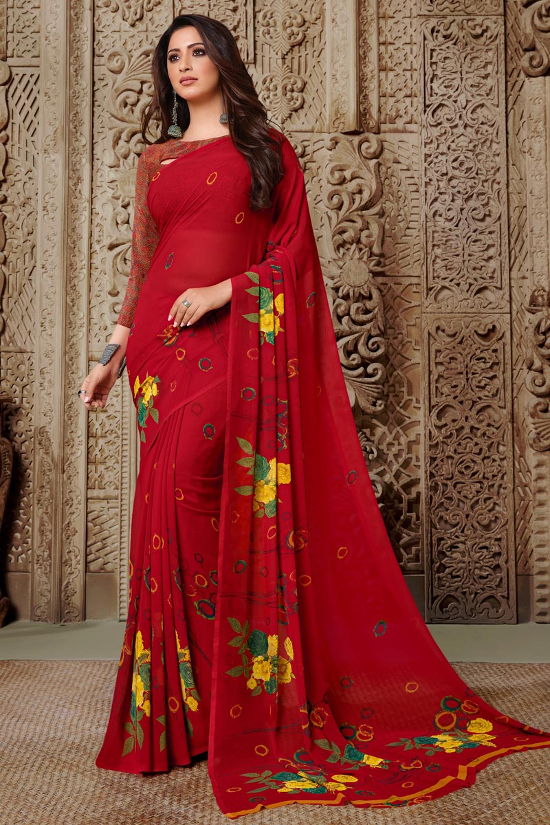 Georgette Fabric Red Color Daily Wear Simple Printed Saree