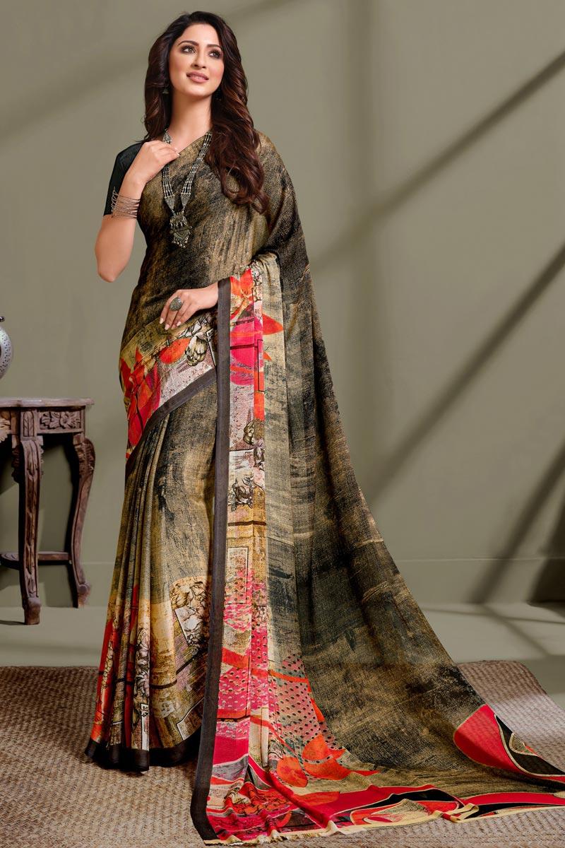 Georgette Fabric Dark Beige Color Daily Wear Printed Saree