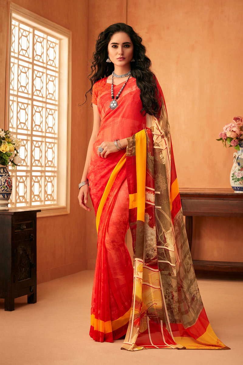 Fancy Printed Function Wear Saree In Georgette Fabric Red