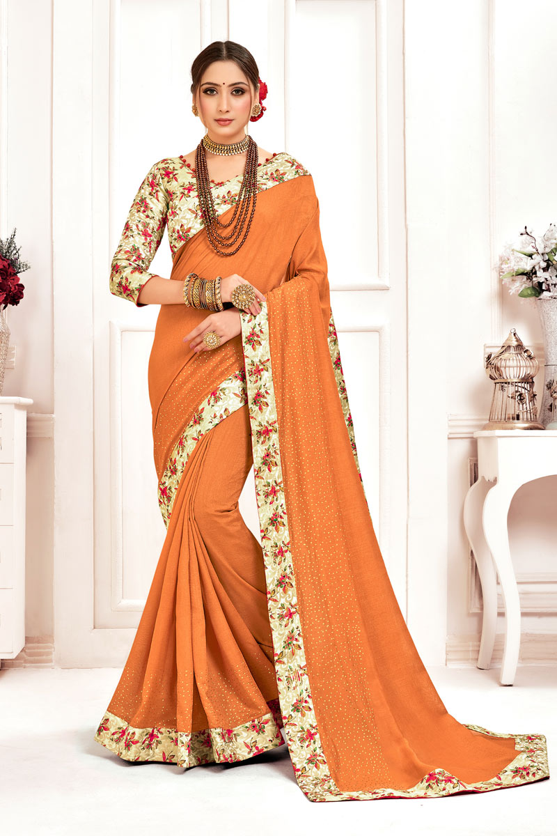 Rust Color Art Silk Fabric Wedding Wear Saree With Border Work And Gorgeous Blouse