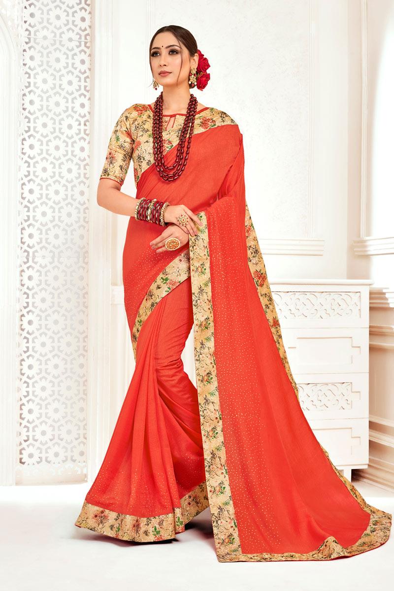 Art Silk Fabric Orange Color Border Work Designer Saree With Designer Blouse