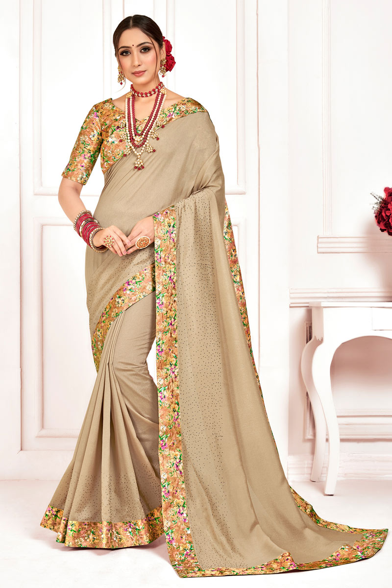 Border Work On Beige Color Art Silk Fabric Party Wear Saree With Amazing Blouse